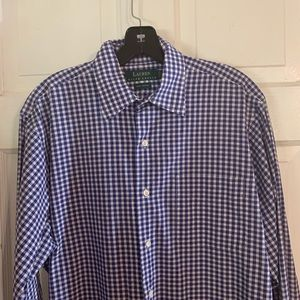 Ralph Lauren Blue Gingham Shirt. Size 15.5 x 33/34